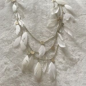 White and gold layered faux feather necklace